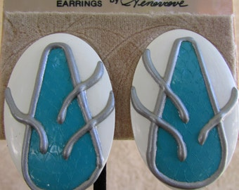 Vintage earring- Teal and white oval stud earrings- 90s Jewelry
