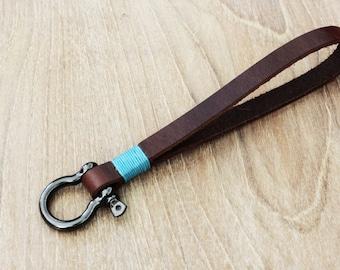 Leather Key Chain Bracelet Keychain Wrist Leather Bracelet Wrist strap Key Holder Leather keyfob (MC-36)
