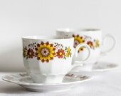 Eschenbach Bavaria Retro Vintage 60's  Porcelain Tea Cups /  Flower Shape Saucers with Unique Floral Design and Pattern - 2 sets