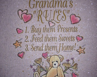 GRANDMA'S RULES - Buy Them Presents, Feed Sweets, Send Home - Beige Swirls or Pink Glimmer Fabric Quilt Block Panel