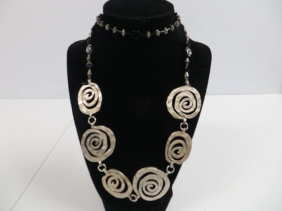 Silver Spiral Statement Necklace and Earrings $20