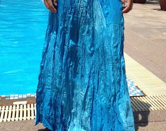 Long Gypsy Skirt - Boho-Summer Weight- Elasticated Waist - Fade Tones- Blue