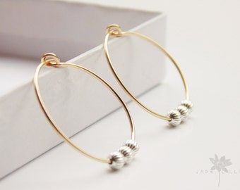 Mixed metal simple minimal 14ct gold filled and sterling silver beads small thin hoop earrings