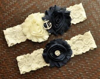 Navy Wedding Garter Set, Anchor Bridal Garter Set, Ivory Lace Wedding Garter, Navy Garter, Nautical Garter, Anchor Garter, Ocean Garter