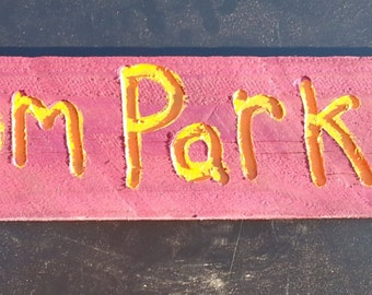 The Broom Parking Halloween Sign in purple/orange, hand crafted from reclaimed Michigan lumber (Lt010)