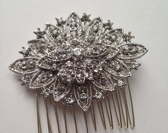 Silver Crystal Hair Comb Art Deco 1920's Vintage Glamour