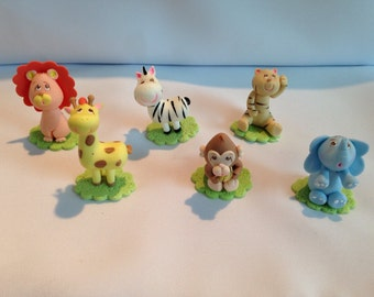 Set of 6 jungle theme animals