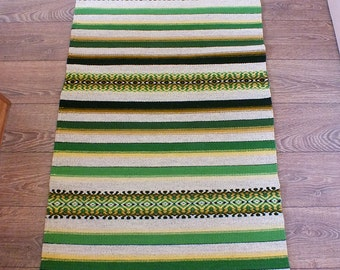 Handwoven wool rug - made to order - green stripes