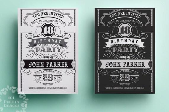 Vintage birthday invitation template printable birthday invitation il570xn filmwisefo