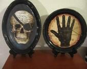 Halloween Decor-Skull or Palm Diagram Halloween Plaque-Wall Hanging-Halloween Decorations-Halloween Shelf Sitter