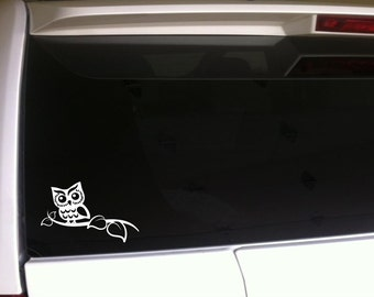 "Owl On A Limb Car Decal Vinyl Sticker 6"" *E87 Pink or White Hoot Owls Art Laptop Skin"