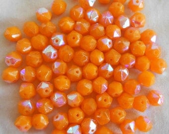 30 orange AB Czech glass beads, faceted round 6mm beads
