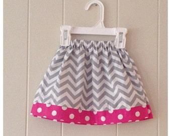 girls chevron skirt, baby girl skirt, chevron, polka dots, zigzag, back to school