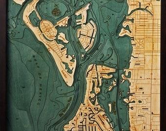 Wood Chart of Siesta Key, Florida,  24.5x31 - Large