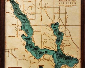 Wood Chart of Walloon Lake, Michigan,  16x20 - Small