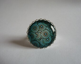 Adjustable ring cabochon 25mm blue flowers