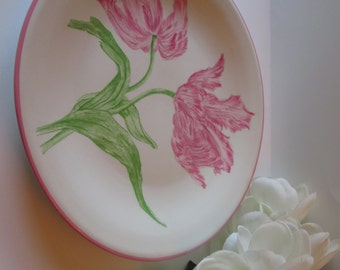 Beautiful Mottahedeh Pink Tulip Plate