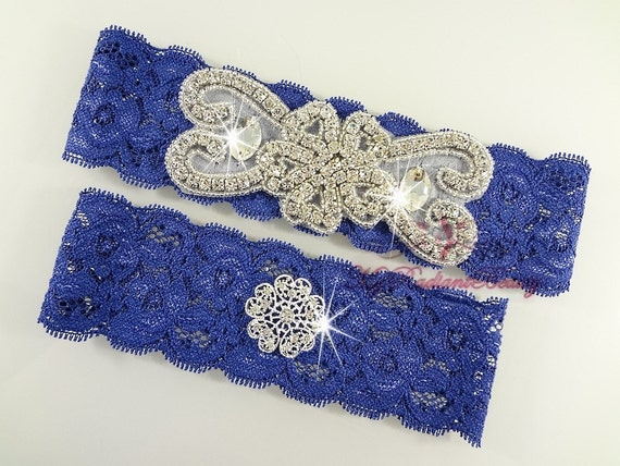 Garter, Bridal Garter, Wedding Garter Set, Crystal Applique Garter, Navy Blue Garter, Handmade Rhinestone Garter, Beaded Garter GTA0045