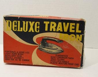 Vintage 1940's Travel Folding Iron, with original box