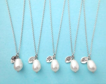 Set of 6, Personalized, Letter, Initial, Pear, White, Pearl, Gold, Silver, Necklace, Sets, Bridesmaid, Wedding, Baby shower, Reunion, Gift