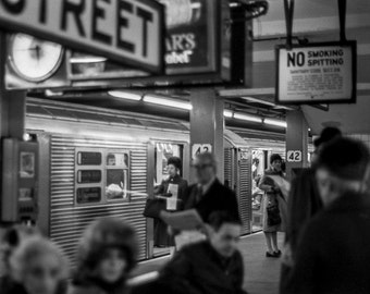 Vintage Black and White Photography Fine Art Print, Subway