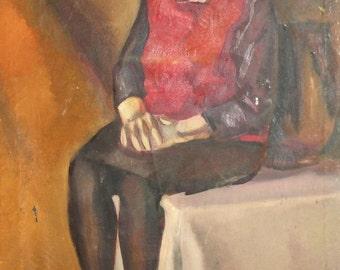 European antique oil painting portrait