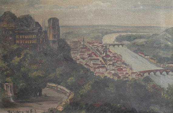 1917 Antique european large oil painting cityscape - photo#24