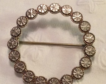 Simple Beverly Hills Silver 925 Circle Pin Brooch