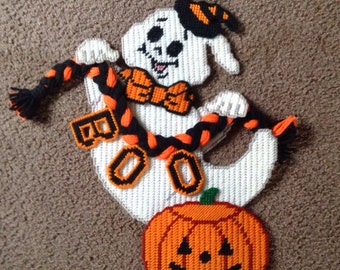 Handmade Needlepoint Ghost Carrying Rope, With Pumpkin Wall Decor