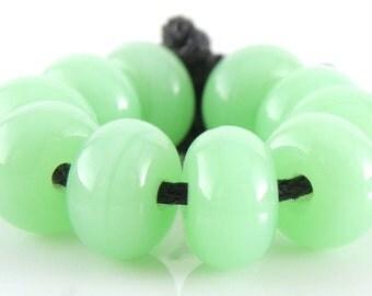 516 Opalino Nile Green Made to Order SRA Lampwork Handmade Artisan Glass Spacer Beads Set of 10 5x9mm