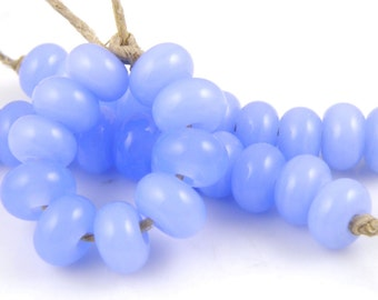 528 Opalino Periwinkle Made to Order SRA Lampwork Handmade Artisan Glass Spacer Beads Set of 10 5x9mm