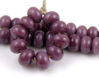 CiM Plum Made to Order SRA Lampwork Handmade Artisan Glass Spacer Beads Set of 10 5x9mm