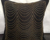 Black decorative Pillow Cover With Gold Beads, Accent Pillows,Throw Pillow, 24x24 inch Black Art Dupioni Silk Pillow, Home Décor, Sofa Toss