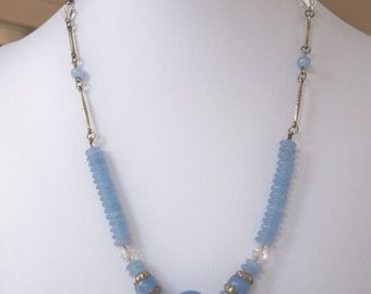 Vintage Art Deco Blue Frosted Glass Necklace.