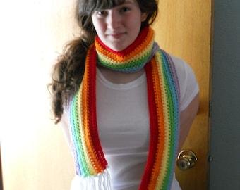 Rainbow Scarf, Crochet Scarf, Long Crochet Scarf, Adult Rainbow Scarf, Rainbow Scarf with Fringe, Winter,  Multicolor scarf