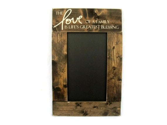 Rustic wood framed chalkboard kitchen wall decor the love of for Kitchen framed wall art