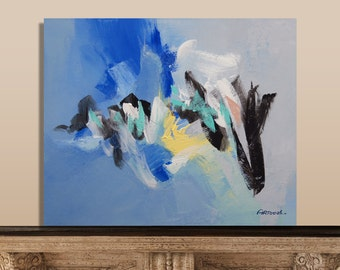 Painting Blue Yellow Black White Abstract Painting Modern Painting Original Painting