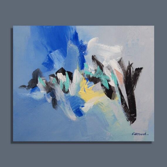 Peinture bleu gris jaune noir peinture abstraite peinture for Peinture gris bleu