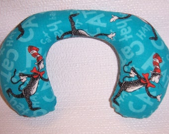 Baby Neck Roll Pillow Cat in the Hat with aqua background.