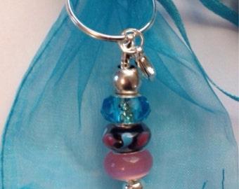 Pink & Blue Swirl keyring or handbag charm