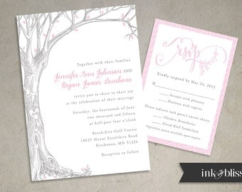Rustic Tree Wedding Invitation and Reply Card Invite - DIY Printable File