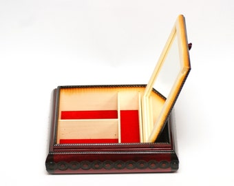 Wooden jewelry box, wooden box with mirror, hand carved casket, storage casket, wooden trinket box, wooden watch box, jewelry casket