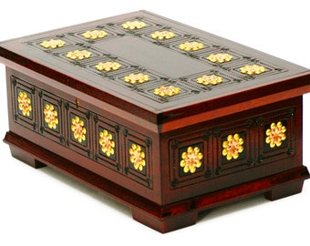Wooden jewelry box, storage box, wood casket with metal petals, lockable box, big jewelry box, make up casket