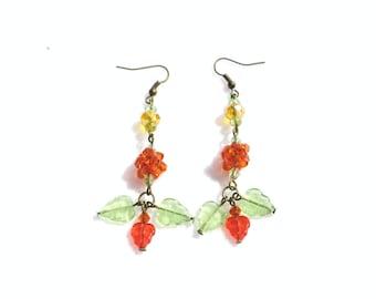 Orange Earrings,  Autumn Earrings, Fall Earrings, Cloudberry Earrings, Autumn Gift
