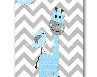 Giraffe Nursery Digital Print Printable Art Baby Boy Nursery Children Art Kids Wall Art Baby Boy Room Decor 8x10 11X14 INSTANT DOWNLOAD Blue