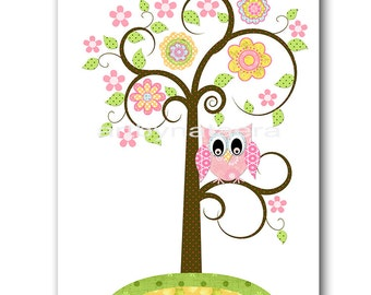 Owl Decor Tree Nursery Art Baby Nursery Print Baby Girl Nursery Decor Printable Print Digital Download Print 8x10 11X14 INSTANT DOWNLOAD