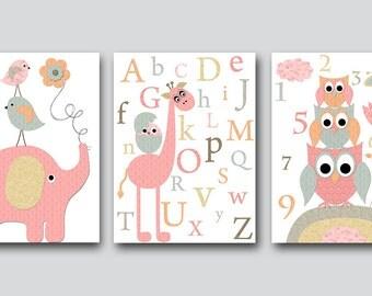 Digital Alphabet Nursery Printable Wall Art Owl Nursery Baby Girl Nursery Printable Decor Digital Print set of 3 8x10 11X14 INSTANT DOWNLOAD