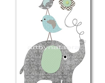 Elephant Nursery Print Printable Art Nursery Digital Print Children Art Baby Boy Nursery art Baby Boy Room Decor 8x10 11X14 INSTANT DOWNLOAD