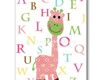INSTANT DOWNLOAD Digital Alphabet Nursery Printable Art Nursery Digital Download Kids Art Baby Girl Nursery Digital Download Art 8x10 11X14
