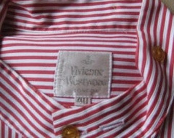 VIVIENNE WESTWWOD # vintage men's shirt # 4 different collars #  gold label # striped # cotton # neck 40